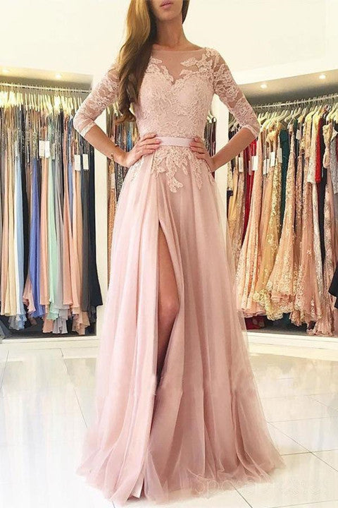 Sexy Split Blush Pink Long Sleeve Lace Evening Prom Dresses, Sexy Party Prom Dresses