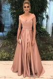 A-Line Deep V-Neck Floor-Length Split-Side Blush Satin Prom Dress with Belt
