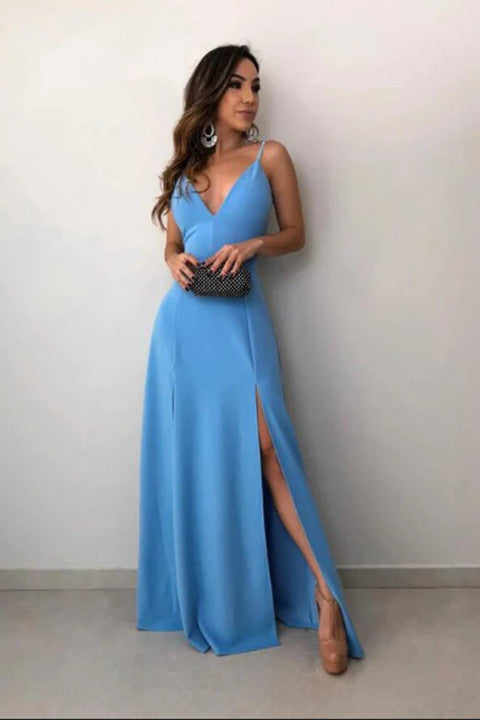 A-Line Spaghetti Straps Floor-Length Sky Blue Prom Dress with Split PFP1485