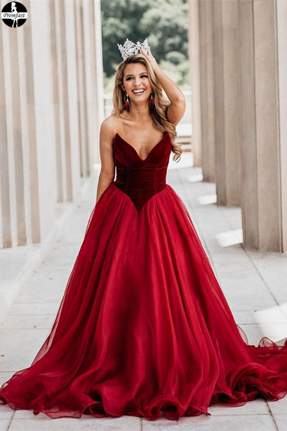 Promfast Burgundy Party Dresses, Velvet and Silk Organza Ball Gown online for Sale PFP1959