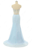 Elegant Mermaid Sweetheart Chiffon Sweep Train Split Front Light Sky Blue Prom Dresses PFP0854