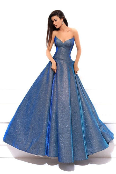 STRAPLESS SWEETHEART ROYAL BLUE BALL GOWN BY PROMFAST PFP1695