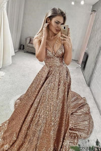 Sparkly Sequin V Neck Long Junior Prom Dresses with Straps