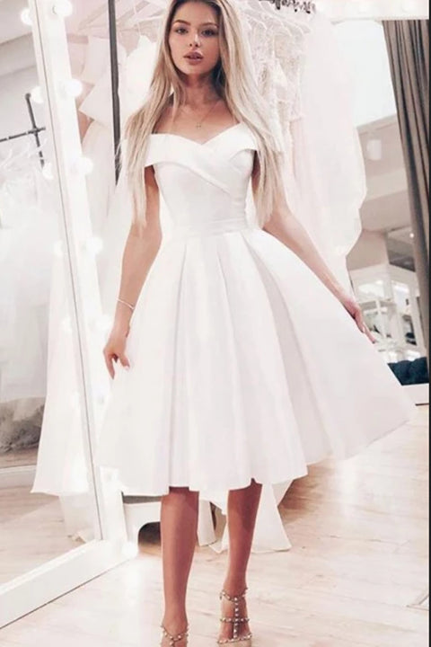A-Line Off-the-Shoulder White Short Prom Dress, Homecoming Dresses PFP1483