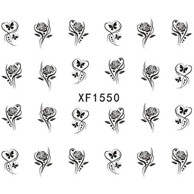 Flower Nail Water Sticker Leaf Lace Design Nail Art Decal Beauty Decoration