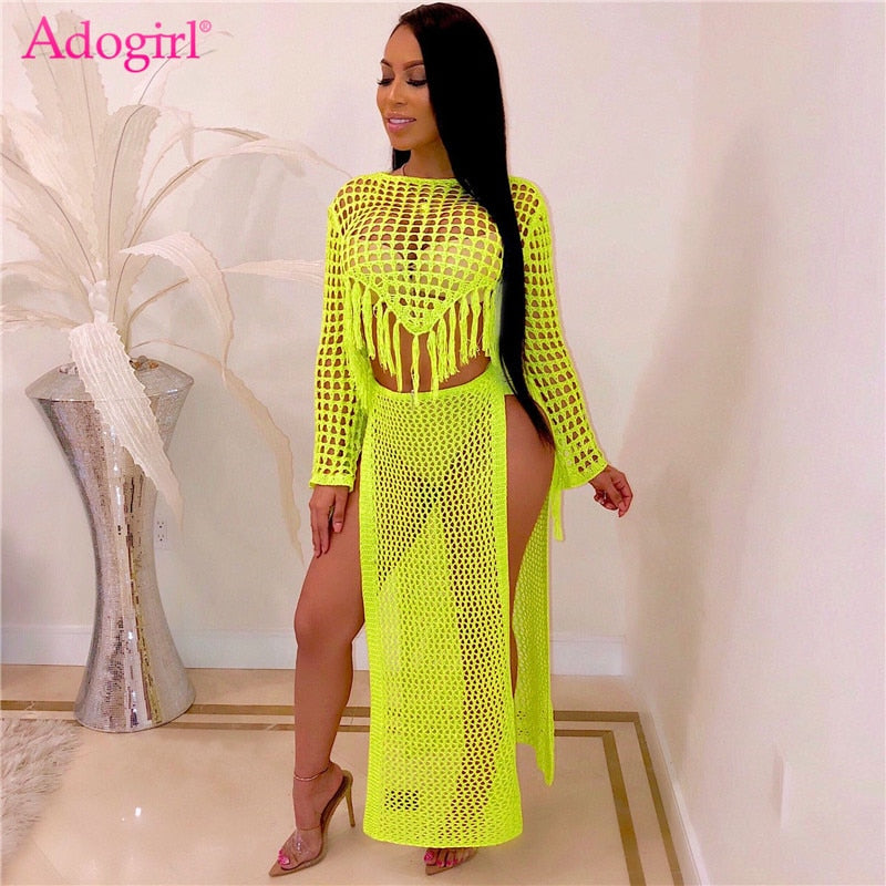Long Sleeve Tassel Crop Top High Slit Maxi Skirt Casual Women Clothing Beach Wear