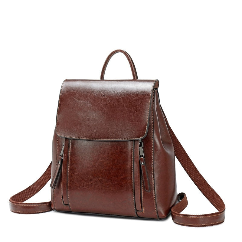 Women Oil Wax Cowhide Backpacks Vintage Female Shoulder Bag