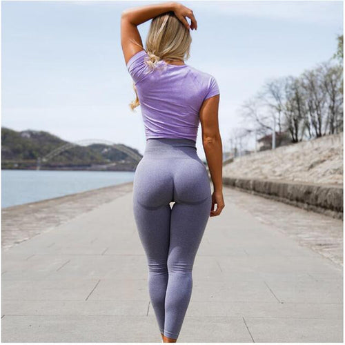 Women High Waist Push Up Hollow Fitness Workout Legging