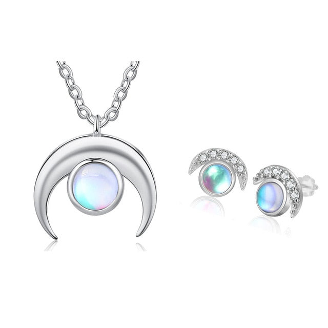 Moonstone Jewelry Sets 925 Sterling Silver Pendant Necklace Ring Earrings