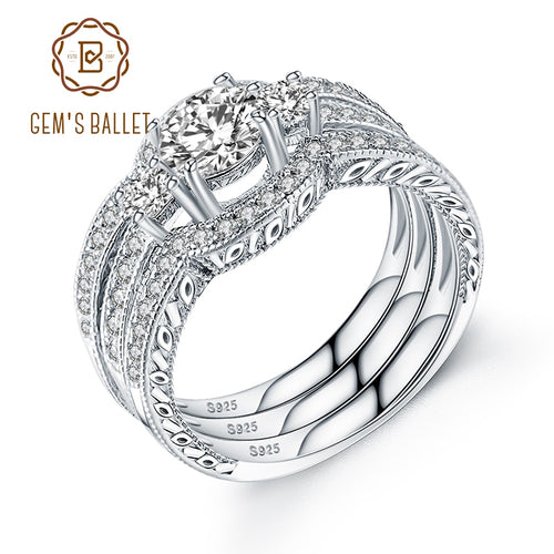 Gem's Ballet Luxury Silver Bridal Set Ring for Women