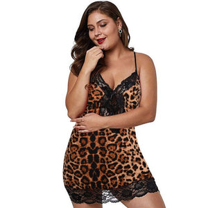 Leopard V-neck Sleeveless Lace  Large Size Womens Sexy Lingerie Nightgown