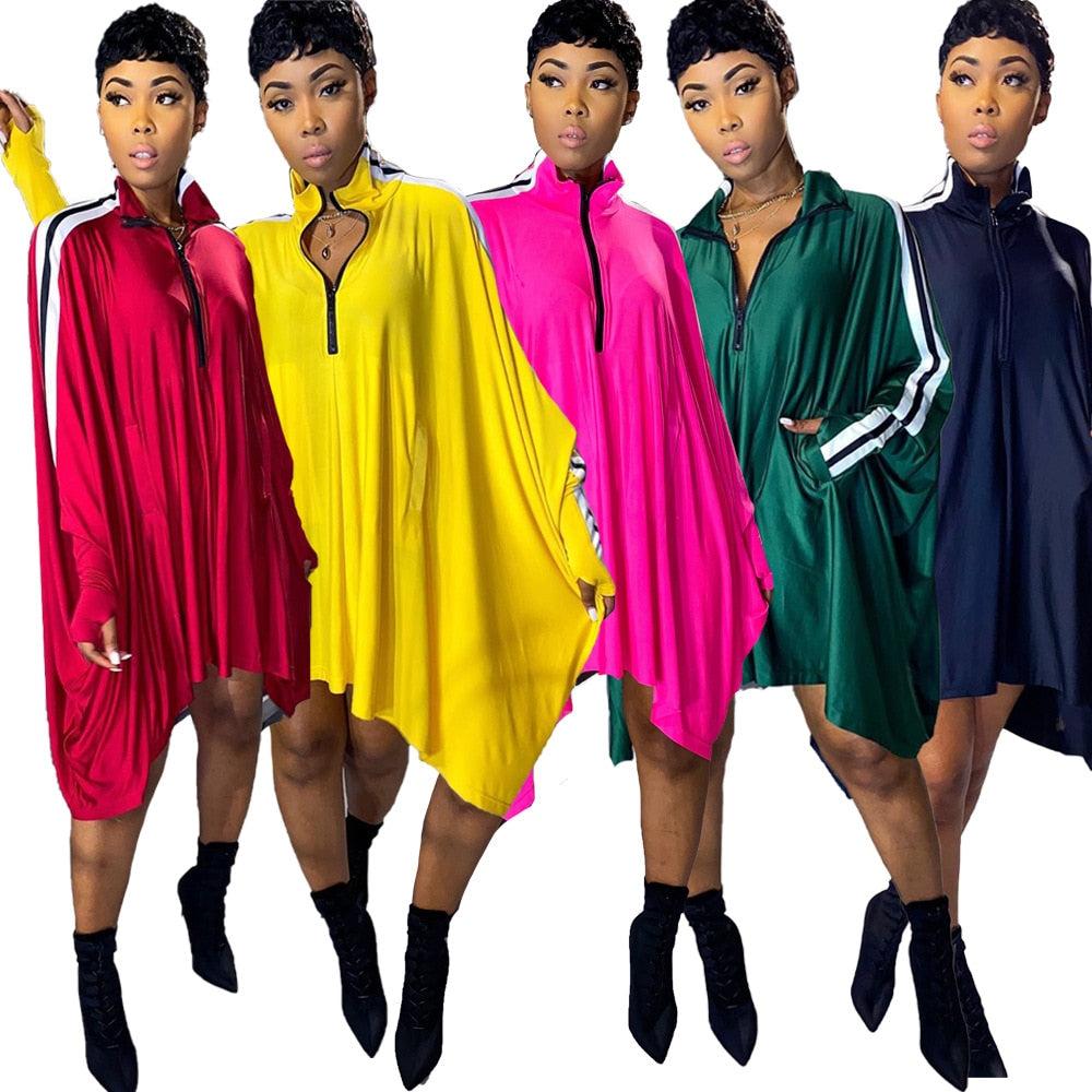 Casual Style Party Night Club Batwing Sleeve Mini Dresses