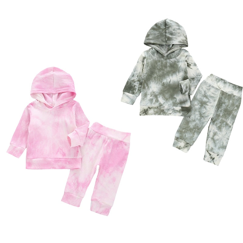 1-6Years Toddler Baby Girl Autumn Clothing Set Unisex Tie-Dye Print Long