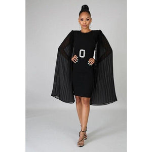 Adogirl Elegant Women Solid Midi Party Dress Pleated Mesh Cape