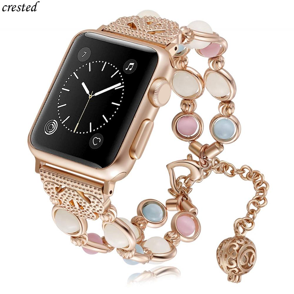 Strap For Apple watch 6 band 40mm 44mm iWatch band 38mm 42mm Women Night Luminous Pearl bracelet