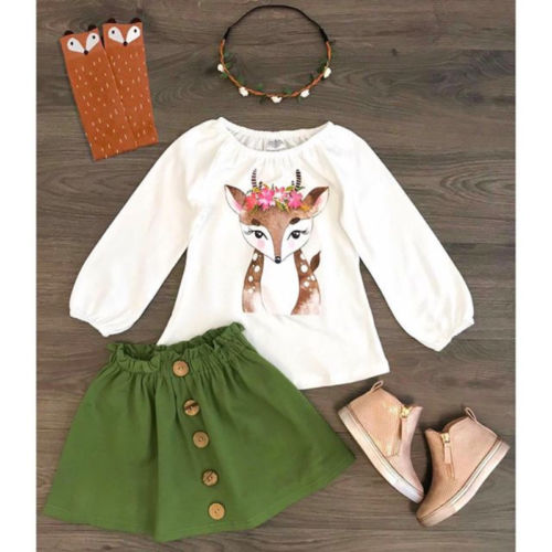 Kids Baby Girl Clothes Set Xmas Deer Tops +Skirts Outfit Clothing Sets