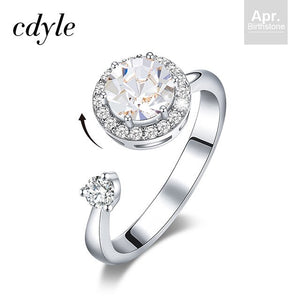 CDE Women's Silver Color Rotatable Ring