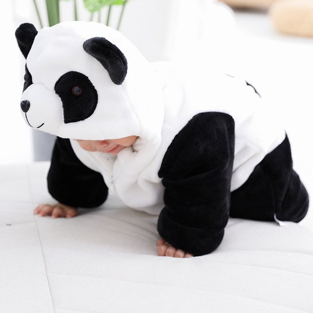 Unisex Baby Romper Thick Warm Fall Newborns Clothing Hooded Zipper Panda Bear