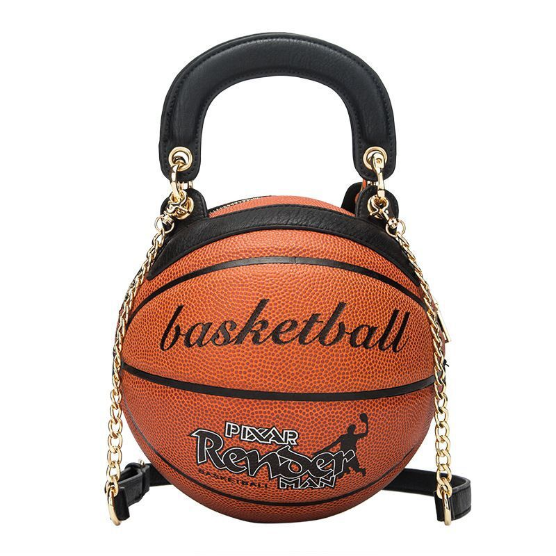 New Basketball Shape Hand Bag Personality Creative Shoulder Bag Female Bag