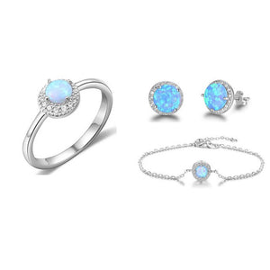 Round Blue Opal Stone Rings Stud Earrings Necklaces Bracelets Gifts for Women