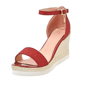 Women Wedges Sandals Casual Buckle Strap Heel