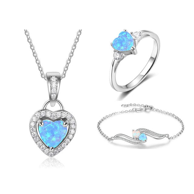 Sterling Silver Blue Heart Opal Necklaces Rings Bracelet Cubic Zircon