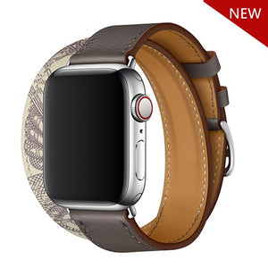 double tour Leather strap For apple watch band