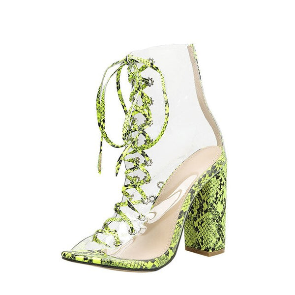 Snake Print PU Sandals Women Lace-Up Transparent Thin