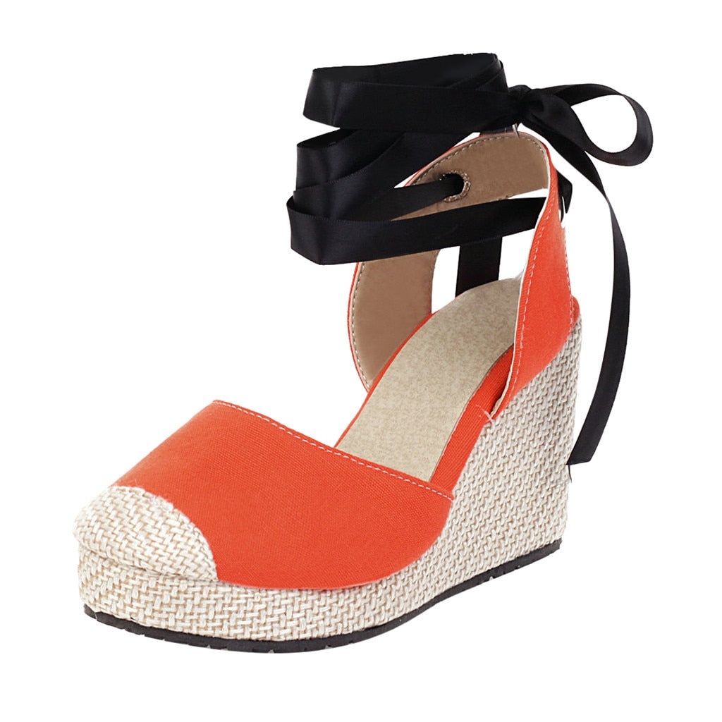 JAYCOSIN Hemp Rope Wedge Heel Sandals