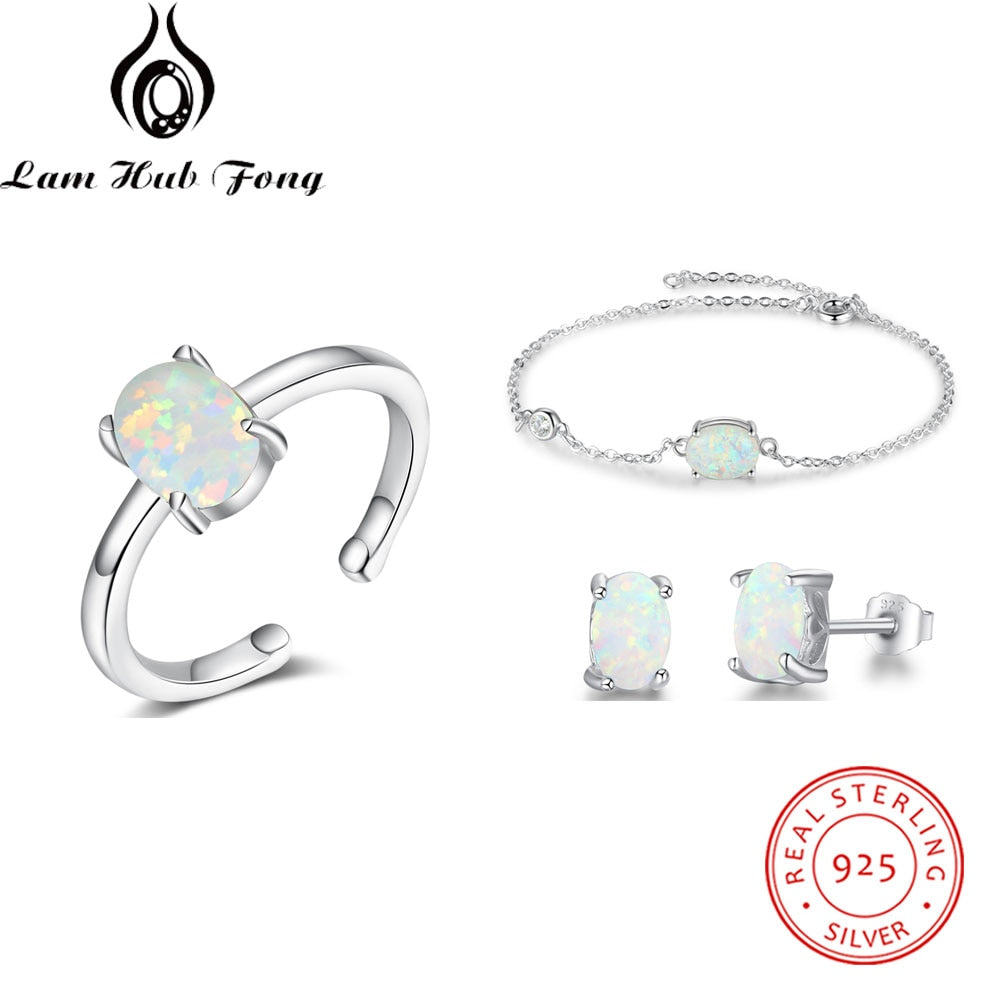 Sterling Silver Jewelry Sets Women White Oval Opal Stone Rings Stud Earrings Bracelets