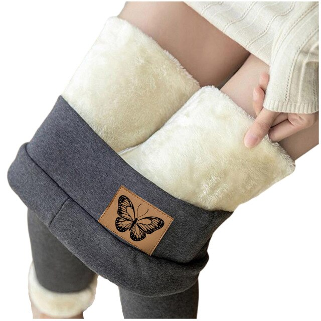 Women Leggings Butterfly Printed Warm Trousers Winter Leggins Tight Thick Velvet Wool