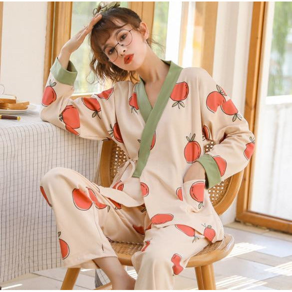 Ladies cotton pajamas set spring summer autumn double layer cotton gauze middle-sleeved trousers