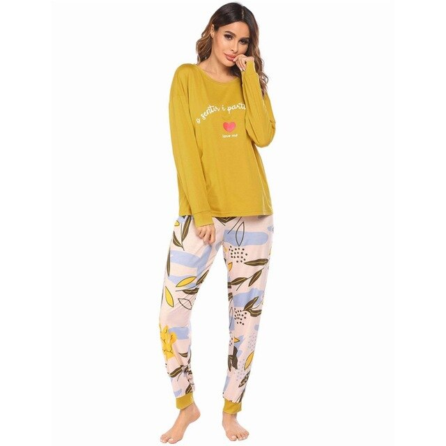 Hot Style Long Sleeve Pajamas And Pajama Suit With American Spring  Printed
