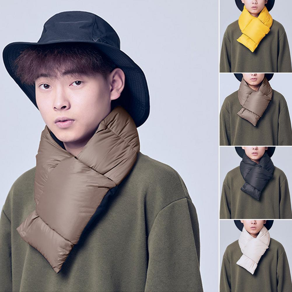 Warm Soft Down Scarf Outdoor Thick Neckerchief for Men