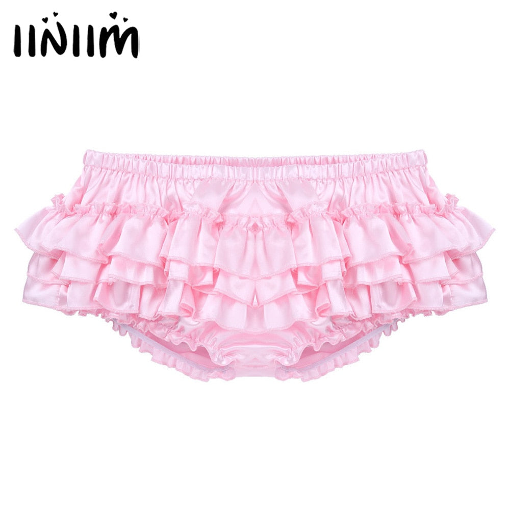 iiniim Mens Lingerie Gay Panties Shiny Satin Ruffled Bloomer Tiered Skirted Panties