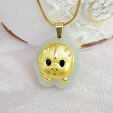 Hetian Jade Lucky Pig Necklace (10k Gold Surface Plated)