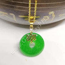 Jade Mystic Knot Necklace (10k Gold Plated)