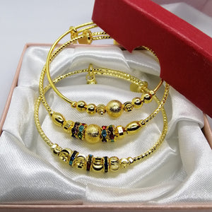Petite Gold and Stone Bangle (Set of 3)