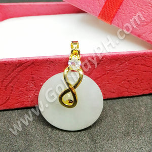 Lucky Infinity Burma Jade Necklace (10k Gold Plated)