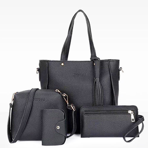 4 in 1 Korean Large Tote Bucket Shoulder Bag Set (Black)