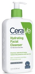 CeraVe Hydrating Facial Cleanser 12 oz for Daily Face Washing, Dry to Normal Skin