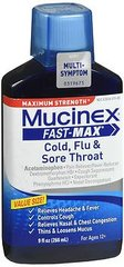 Mucinex Fast-Max Cold Flu & Sore Throat Liquid Maximum Strength - 9 oz