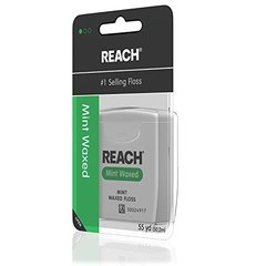 Reach Waxed Dental Floss for Plaque and Food Removal, Refreshing Mint Flavor, 55 Yards
