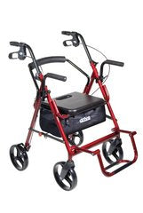 Drive Medical Duet Dual Function Transport Wheelchair Walker Rollator, Burgundy