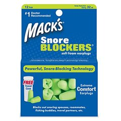 Macks Snore Blockers Soft Foam Earplugs, 12-Pair