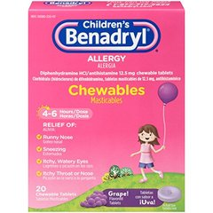 Children's Benadryl Antihistamine Allergy Relief Chewables, Grape Flavored, 20 Count