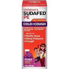 Children's Sudafed PE Cold and Cough Grape Liquid, 4 Ounce