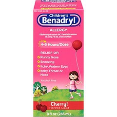 Children's Benadryl Antihistamine Allergy Relief, Liquid, Cherry Flavored, 8 Oz