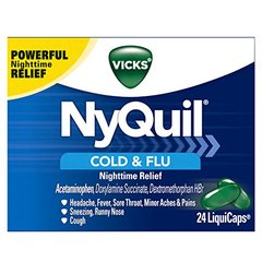 Vicks NyQuil Cough Cold and Flu Nighttime Relief, 24 LiquiCaps