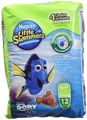 Huggies Little Swimmers Disposable Swim Nappies - Size 3-4 (15-34 lbs/7-15 kg), 1 x Pack of 12